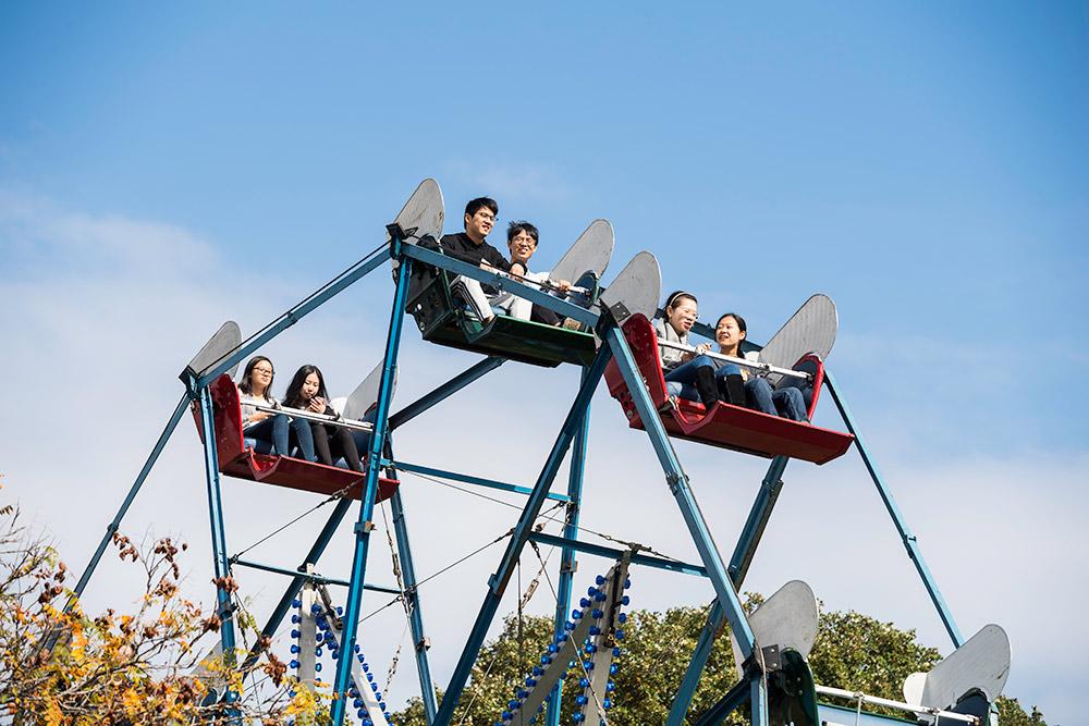 people on a Ferris wheel