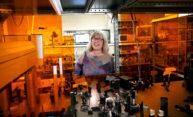 Nobel Prize winner Donna Strickland in her laser lab