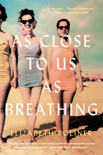 book cover showing women in 1960s swimsuits holding hands on a beach