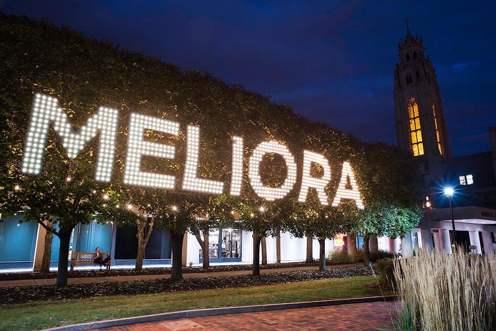 lights in the trees spell MELIORA
