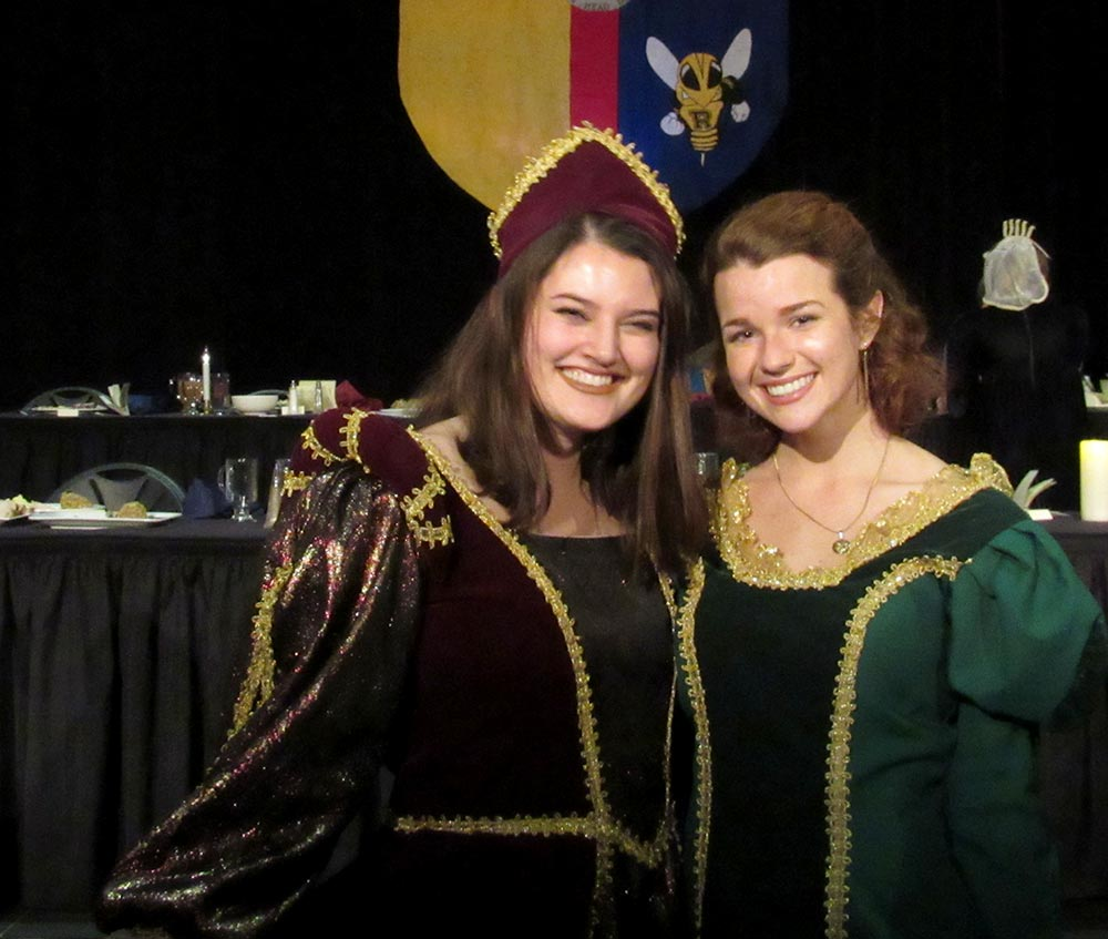 two students in medieval dress