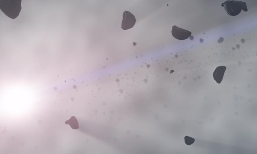 artist conception of icy particles in space