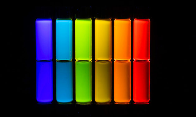 vials in a rainbow of colors