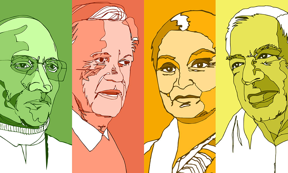 Colorful, stylized portraits of critical theorists Michel Foucault, Hayden White, Gayatri Spivak, and Richard Rorty.