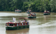 canal boats on the Erie Canal carrying suffrage reenactors