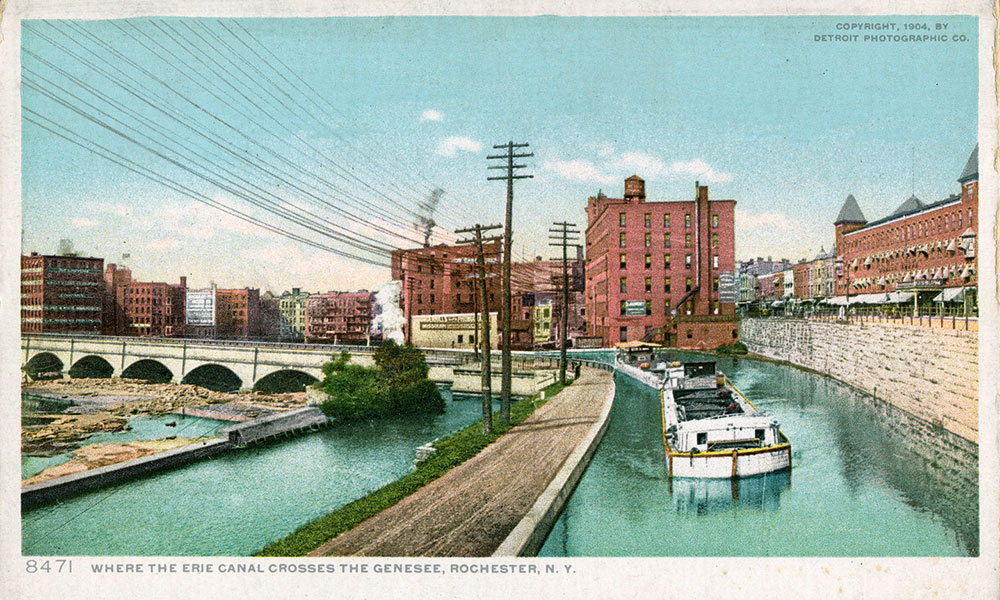 historic postcard featuring boats on the Erie Canal