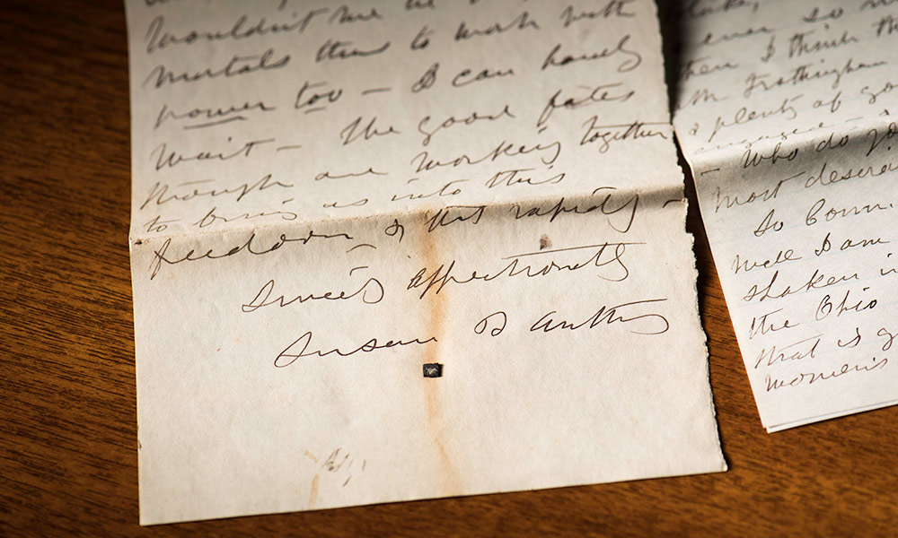 detail from a letter from Susan B. Anthony