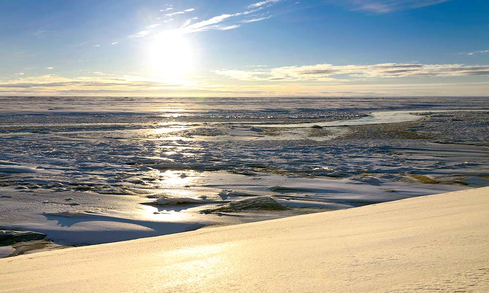 ice and snow along the shore of Prudhoe Bay