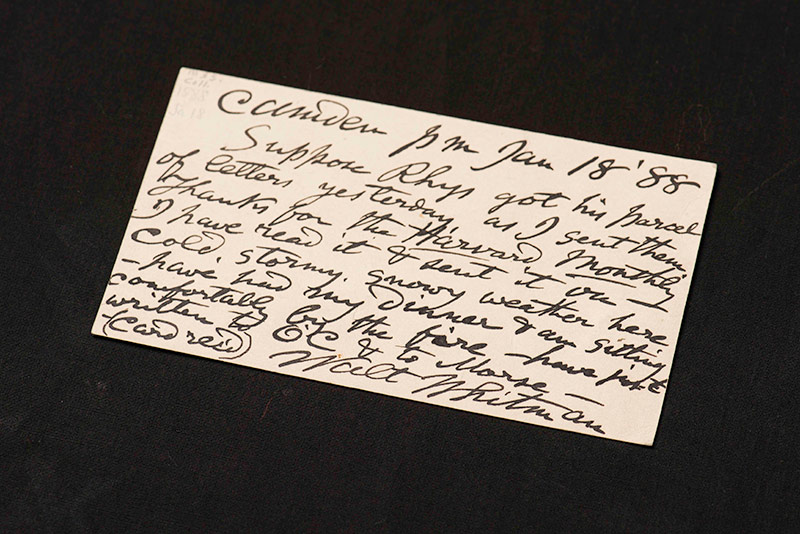 small, handwritten card signed by WALT WHITMAN