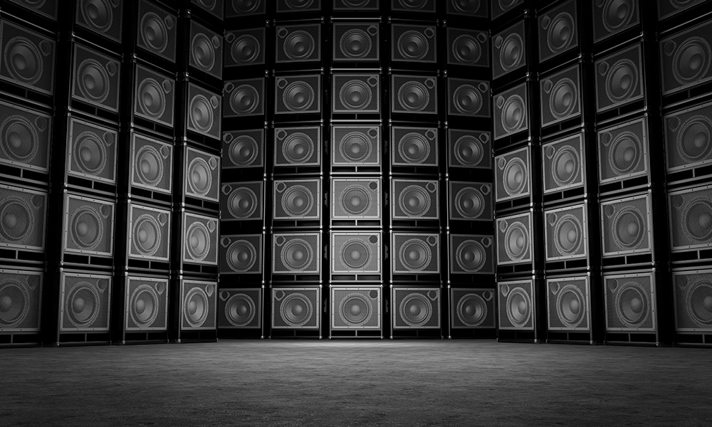 wall of speakers