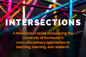 domestic violence image, logo graphic reads: INTERSECTIONS. A Newscenter series showcasing the University of Rochester's cross-disciplinary approaches to teaching, learning, and research