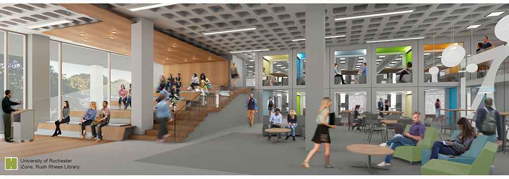 rendering showing students walking and sitting in an open meeting space