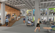 Artist rendering showing students walking and sitting in an open bright space