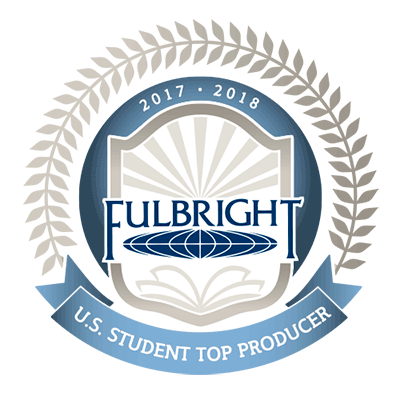 logo reads 2017-2018 Fulbright US Student Top Producer