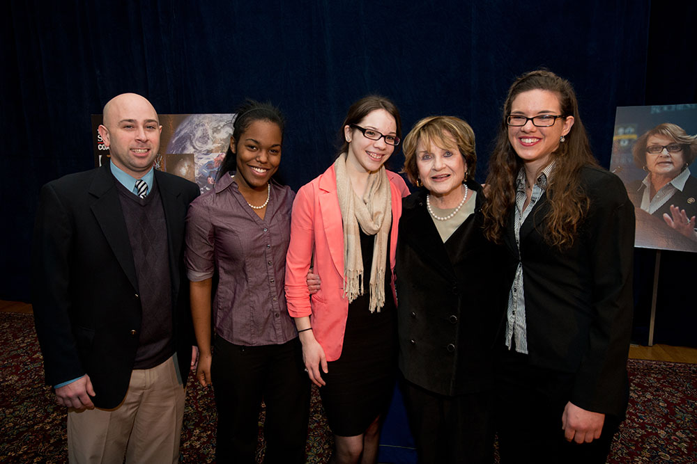 group portrait of Louise Slaughter with students