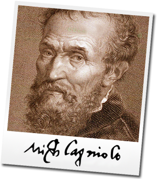 portrait of Michelangelo with his signature