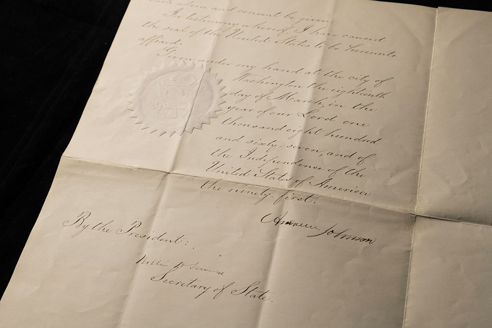 sealed document with the signature of Andrew Johnson