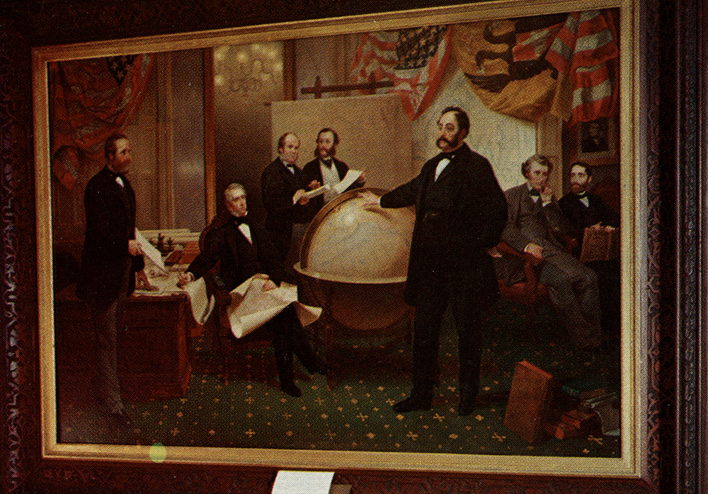 framed painting showing the signing of a treaty