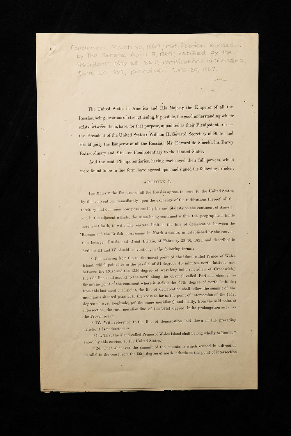 document shows the first page of the treaty between the United States and Russia