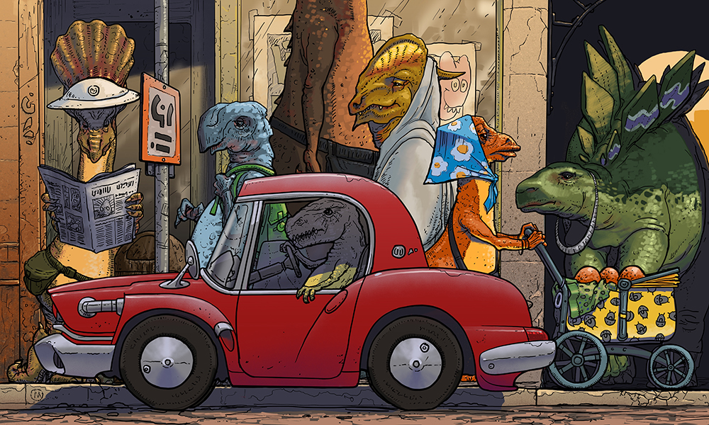 drawing of dinosaurs in a city landscape
