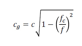 formula reads cg = c times the square root of 1 minue fc over f squared