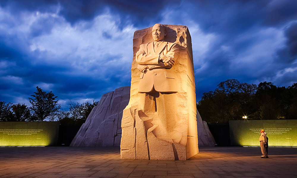 Martin Luther King memorial at dusk