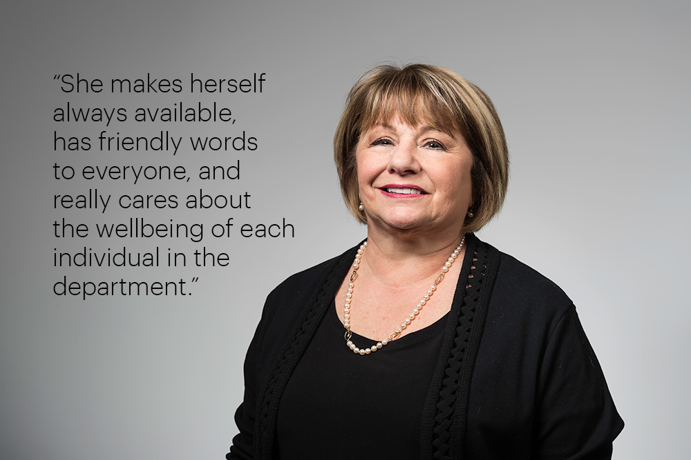 "Portrait with the quote, ""She makes herself always available, has friendly words to everyone, and really cares about the wellbeing of each individual in the department."""