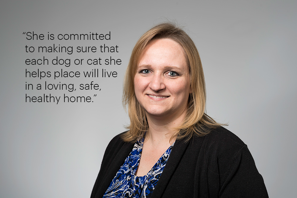 "portrait with the quote, ""She is committed to making sure that each dog or cat she helps place will live in a loving, safe, healthy home."""