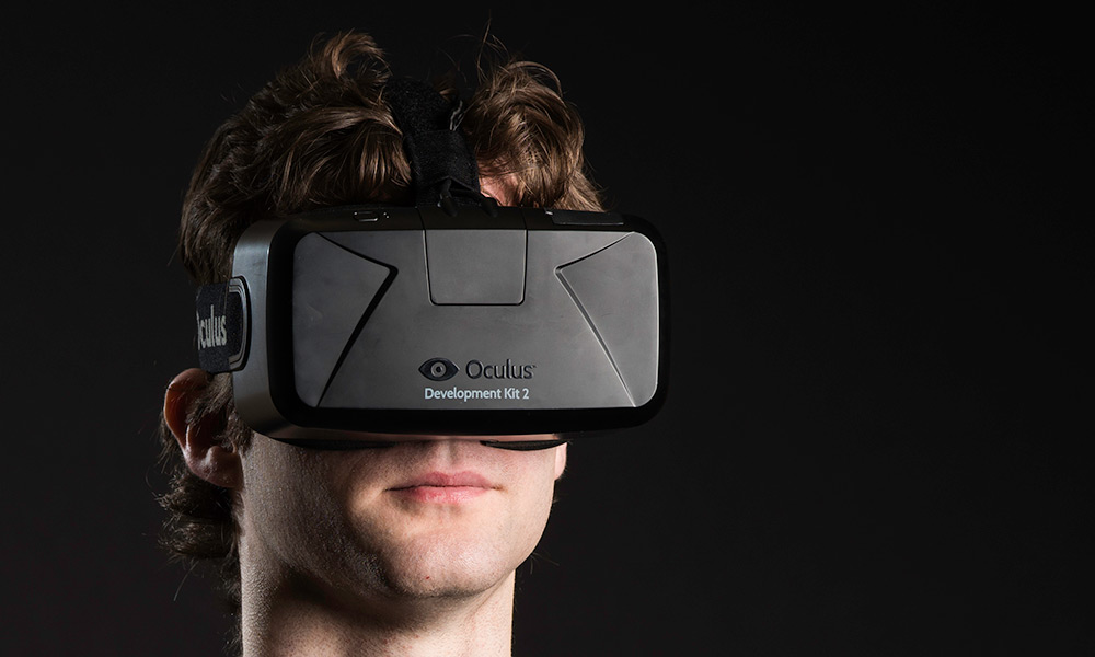 photo of student wearing a AR/VR headset