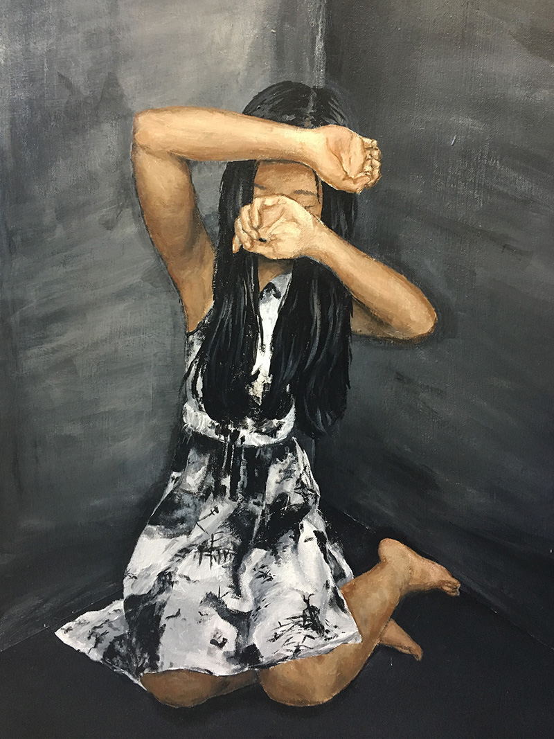 detail of a painting of a person covering their face with their hands