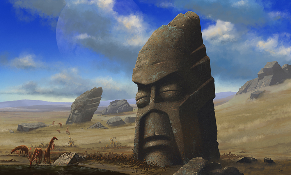 illustration of the head statues on Easter Island