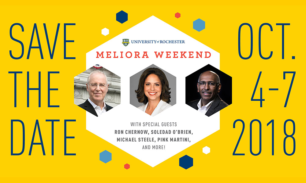 Meliora Weekend graphic showing Ron Chernow, Soledad O'Brien and Michael Steele