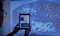 woman holding an iPad up, revealing hidden artwork in graffiti projected on a wall