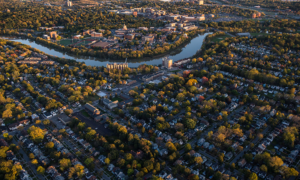 aerial photo of the University of Rochester campus and Rochester neighborhoods