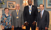 Raffaella Borasi; Howard Konar; Shaun Nelms '04W (MS), '13W (EdD); and President Richard Feldman