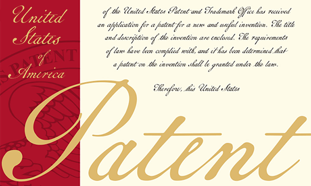 detail from the cover of official US patents, with ornate design that says PATENT