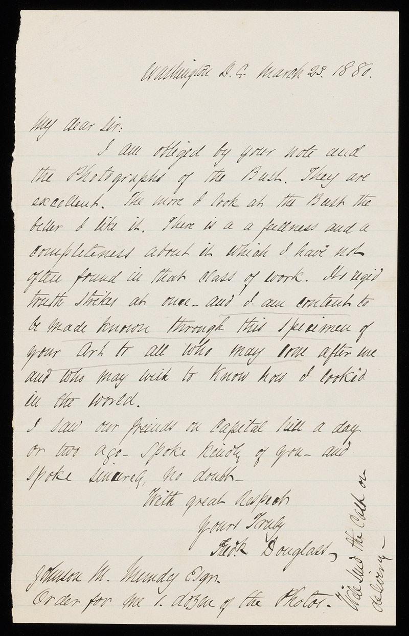 handwritten letter sent by Frederick Douglass