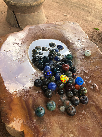 colorful beads in a water fountain