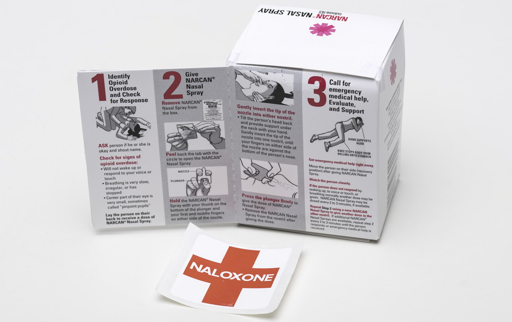 Narcan (Naloxone) kit in AED cabinets