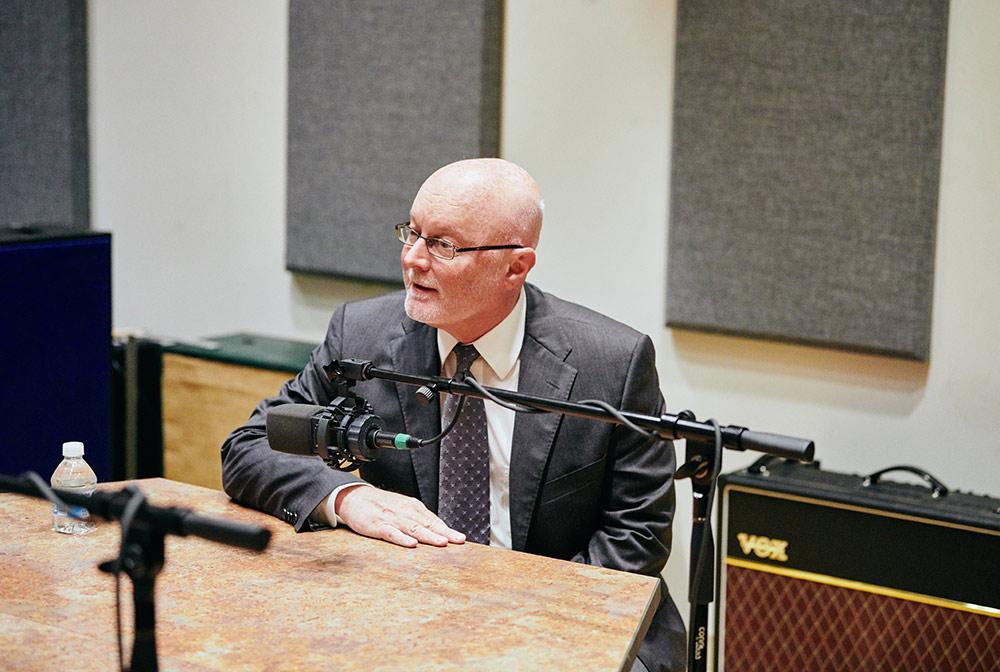 Donald Hall in the recording studio