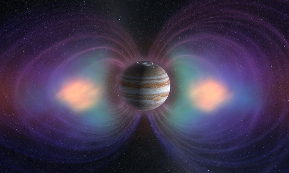 illustration of Jupiter and Juptier's magnetic field