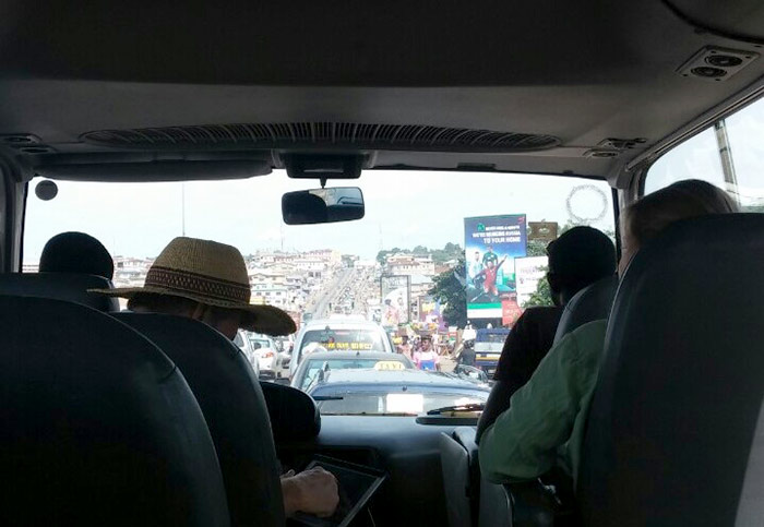 view from inside a car shows traffic jam