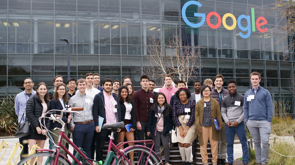 students assembled in front of Google HQ
