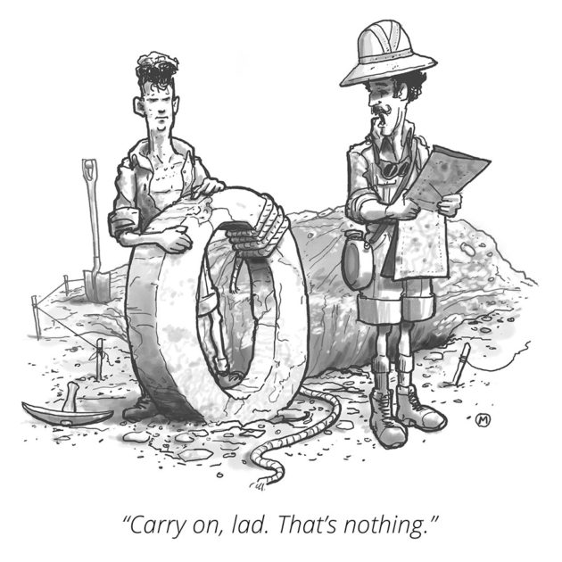 cartoon of two archeologists, one holding a large stone number zero, and the other saying Carry On, Lad, That's Nothing