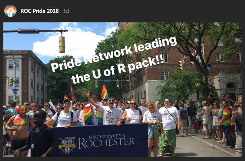 large group holding a banner that reads University of Rochester from the UR PRide Network Instagram account