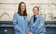 Chemistry professor Ellen Matson and PhD student Brittney Petel in Matson's laboratory