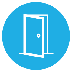 graphic of an opening door