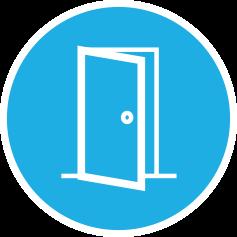 graphic of an opening door