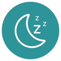 graphic of a moon and Zzz's