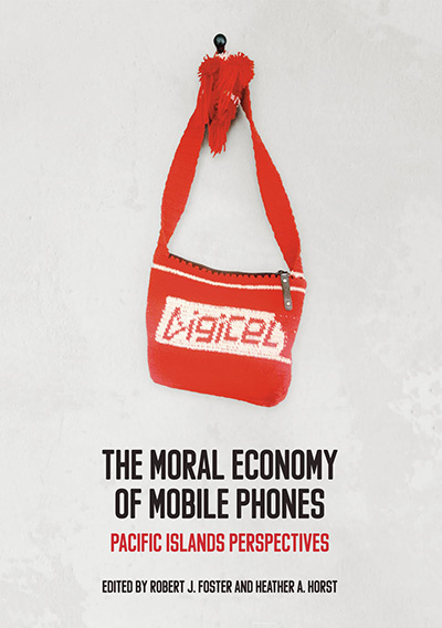 image of the book cover for The Moral Economy of Mobile Phones: Pacific Island Perspectives shows an image of a red, hand-knitted back with the logo for phone company Digicel